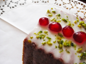 Cake with icing, sugared cherries and pistachios Uploaded bymichaelaw sxc hu